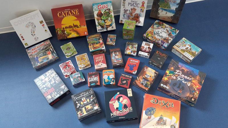 Photo de la trentaine de jeux de société disponibles au GEM Aspies & Cie